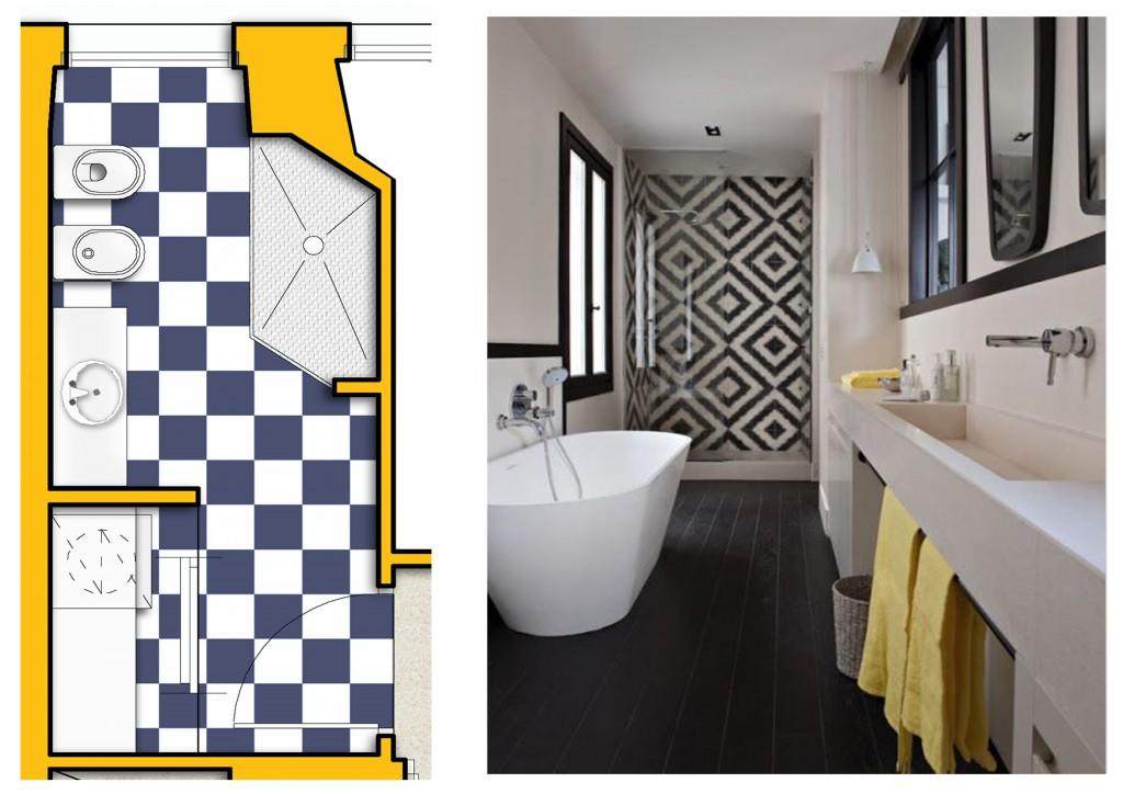 progettare il bagno stretto 2
